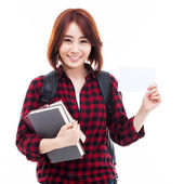 Young Asian student showing a card — Foto Stock