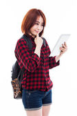 Young Asian student woman using a pad PC — Foto Stock