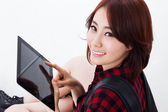 Young Asian student woman using a pad PC — Stock Photo