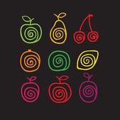 Swirly fruits — Stock Vector