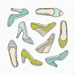 Shoes collection — Stock Vector