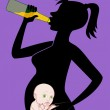 Pregnant woman with a bottle of beer — Stock Vector #22819040