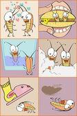 Roach scenes — Stock Vector