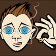 Stock Vector: Smoking Kid