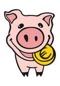 Piggy bank with euro coin — Stock Vector