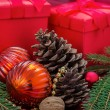 Christmas decoration with presents — Stok fotoğraf