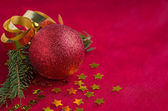 Christmas decoration with christmas ornaments — Stock Photo