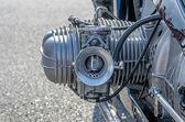 Nahaufnahme eines zylinders auf einem vintage motorrad — Stockfoto