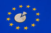 Sliced euro coins on european flag — Foto Stock