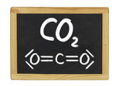 Chemical formula of carbon dioxide on a blackboard — 图库照片