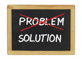 Solution for a problem written on a blackboard — Stock Photo
