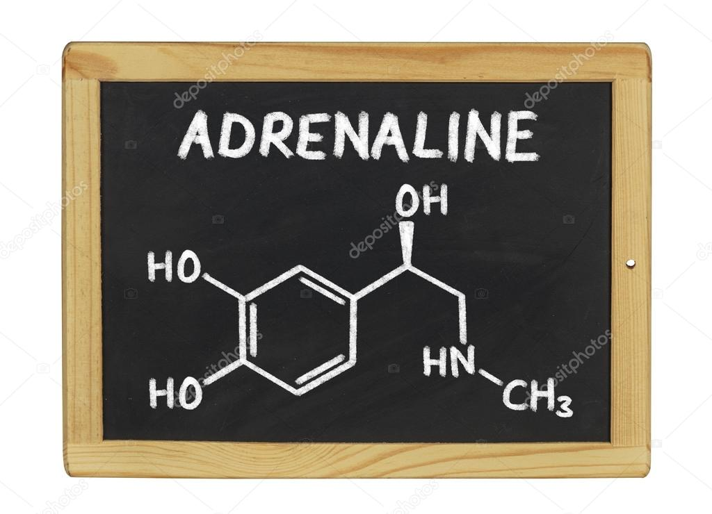 Chemical formula of adrenaline on a blackboard - stock image