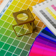 Color guide and color fan with linen tester — Stock Photo