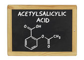 Chemical formula of acetylsalicylic acid on a blackboard — 图库照片