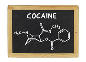Chemical formula of cocaine on a blackboard — Stock Photo