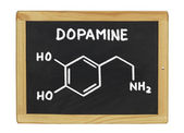 Chemical formula of dopamine on a blackboard — Foto de Stock