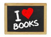 I love books on a blackboard — Stock Photo