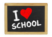 I love school on a blackboard — 图库照片