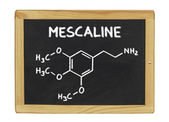 Chemical formula of mescaline on a blackboard — Stock Photo