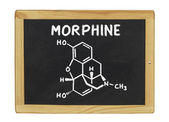 Chemical formula of morphine on a blackboard — Stock Photo