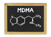 Chemical formula of MDMA on a blackboard — Stock Photo