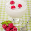 Stock Photo: Fresh creamy natural yogurt with raspberries