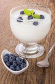 Fresh creamy natural yogurt with blueberries — Stock Photo