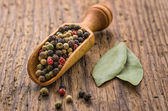 Spice scoop with mixed pepper — Stock Photo