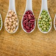 Various legumes on porcelain spoons — Stock Photo #26280113