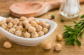 Bowl with chickpeas — Stock Photo