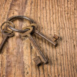 Three old keys on a key ring — Stock Photo