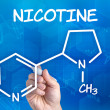 Hand with pen drawing the chemical formula of nicotine — Stock Photo