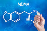 Hand with pen drawing the chemical formula of MDMA — Stock Photo
