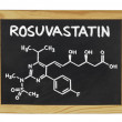 Stockfoto: Chemical formulof rosuvastatin on blackboard