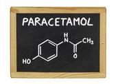 Chemical formula of paracetamol on a blackboard — Stock Photo
