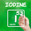 Symbol for the chemical element iodine — Stock Photo