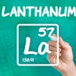 Symbol for the chemical element lanthanum — Stock Photo