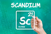 Symbol for the chemical element scandium — Stock fotografie