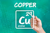 Symbol for the chemical element copper — Stok fotoğraf