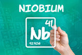 Symbol for the chemical element niobium — 图库照片