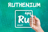 Symbol for the chemical element ruthenium — 图库照片