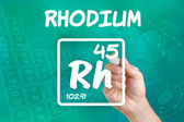 Symbol for the chemical element rhodium — Stok fotoğraf