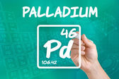 Symbol for the chemical element palladium — Stok fotoğraf