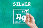 Symbol for the chemical element silver — 图库照片