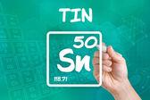 Símbolo de la lata del elemento químico — Foto de Stock