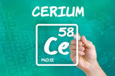 Symbol for the chemical element cerium — Stok fotoğraf