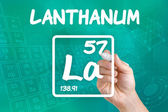 Symbol for the chemical element lanthanum — Foto Stock