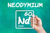 Symbol for the chemical element neodymium — Stock Photo