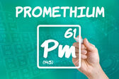 Symbol for the chemical element promethium — Stock Photo