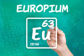 Symbol for the chemical element europium — Stok fotoğraf